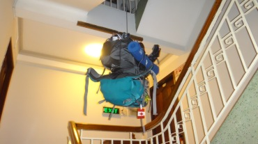 Our backpacks going for a ride.