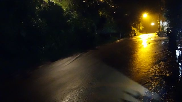 Inclined roadway completely flooded